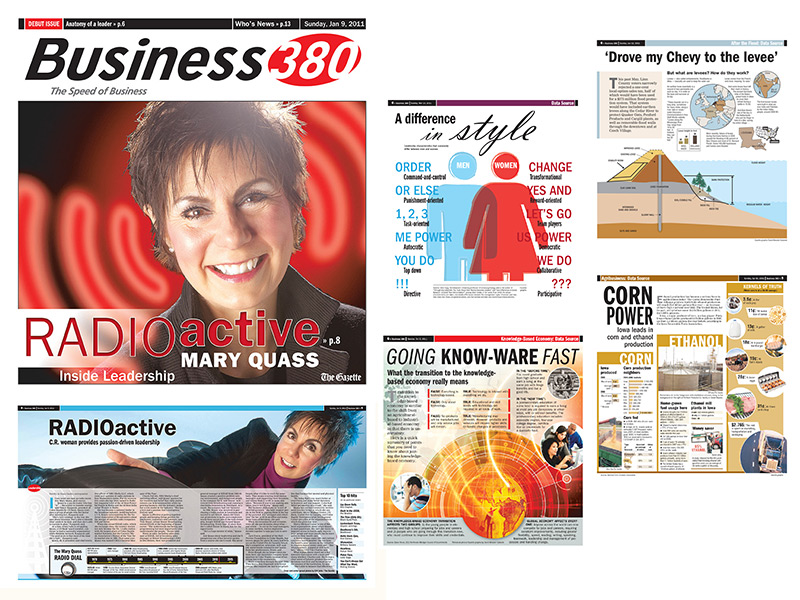 Gazette Business 380 spread and infographics